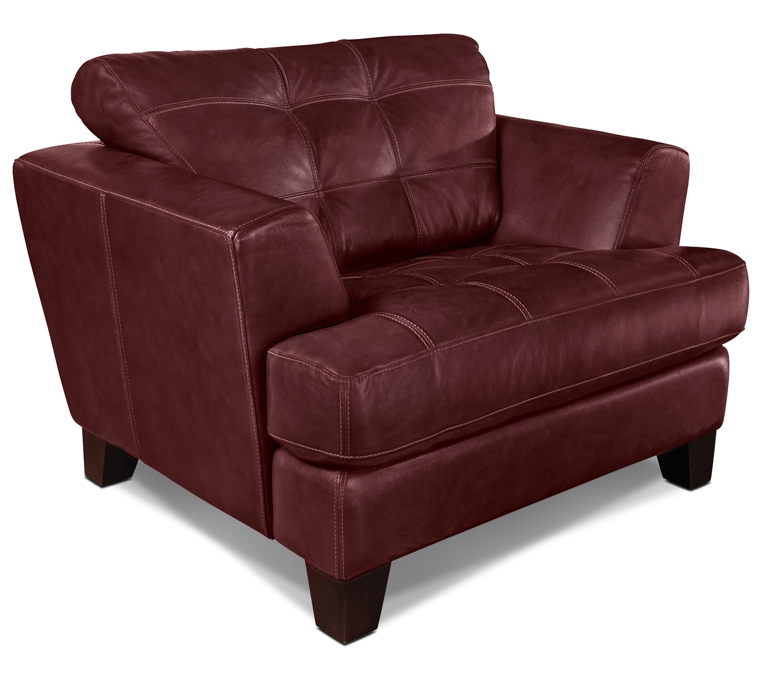 Living Room Furniture - Avenue Genuine Leather Chair - Red