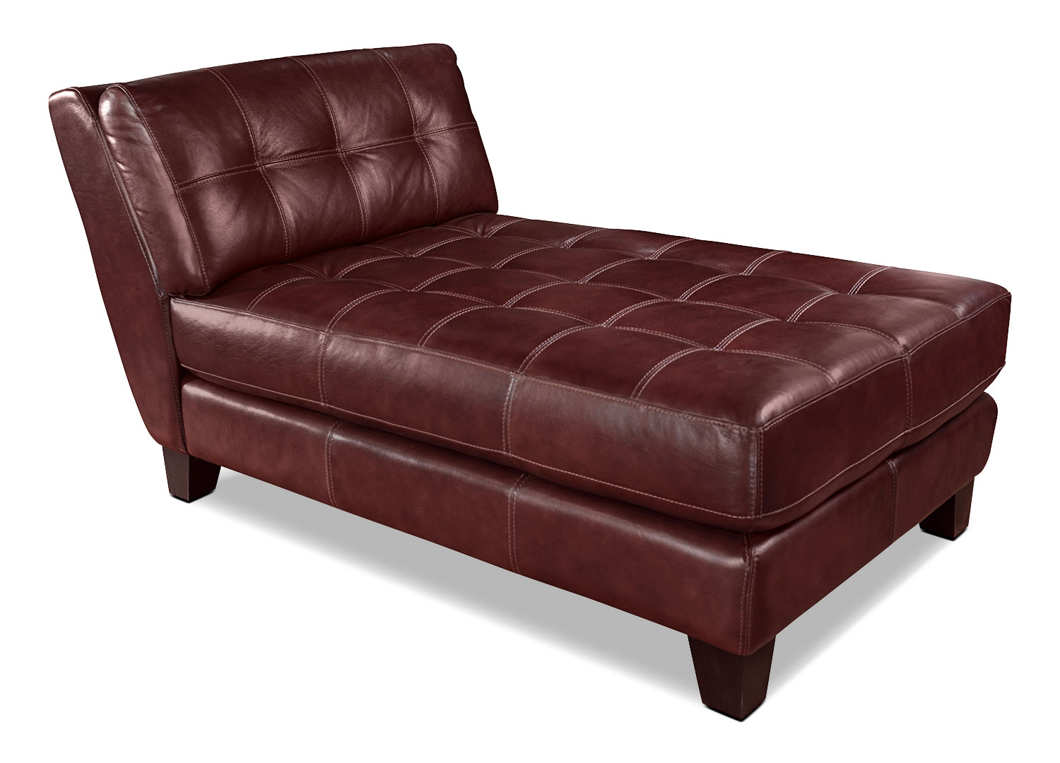Living Room Furniture - Avenue Genuine Leather Chaise - Red