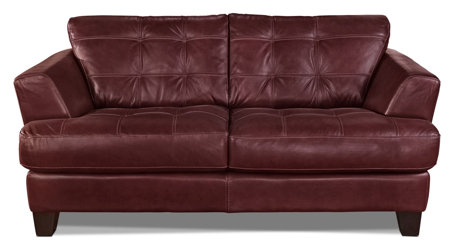Living Room Furniture - Avenue Genuine Leather Loveseat - Red