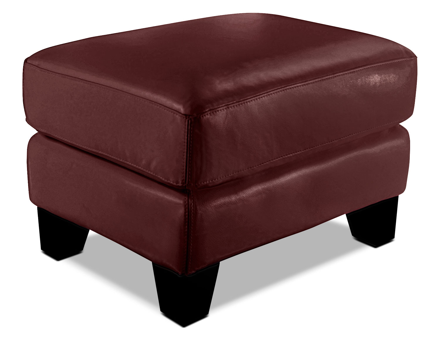 Living Room Furniture - Avenue Genuine Leather Ottoman - Red