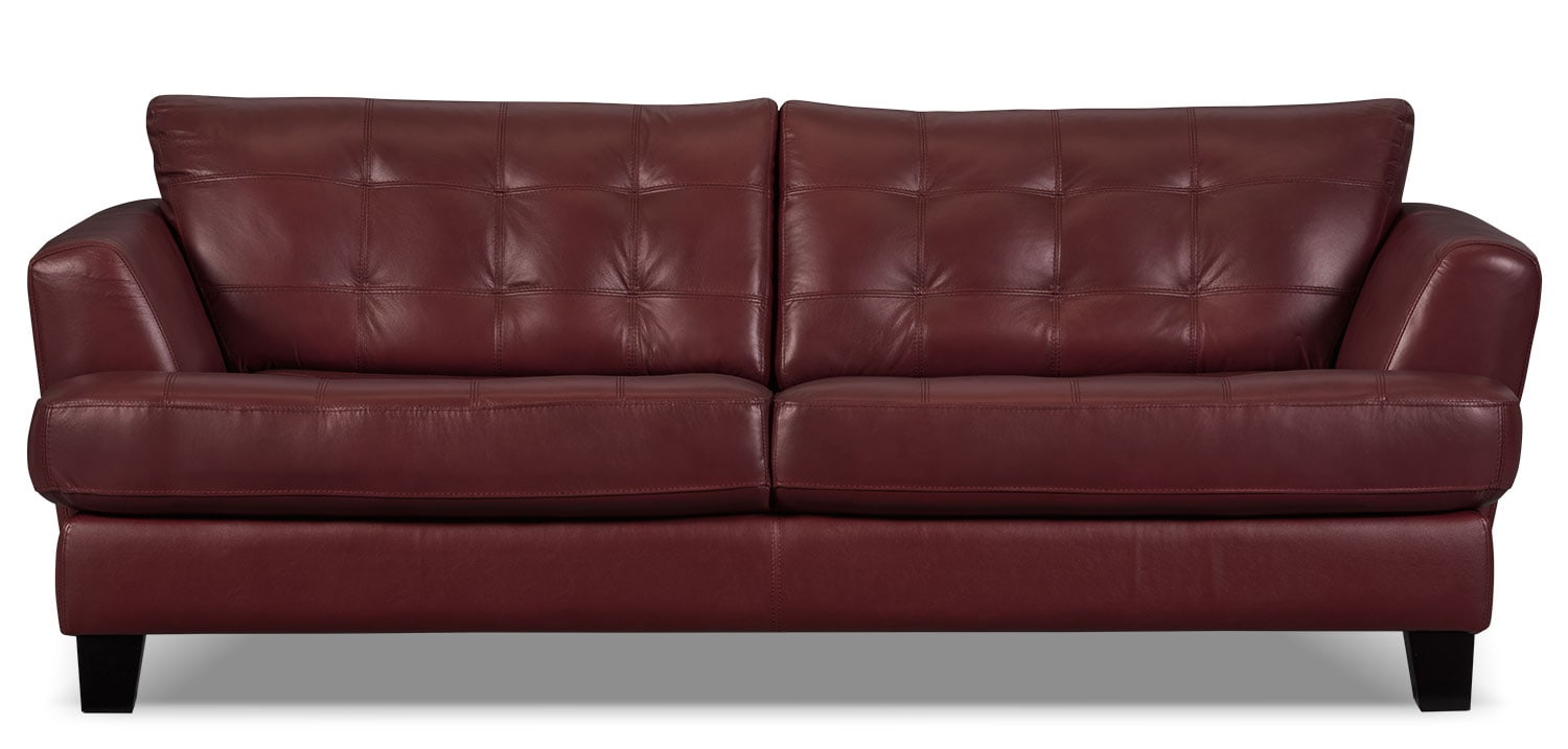 Living Room Furniture - Avenue Genuine Leather Sofa - Red