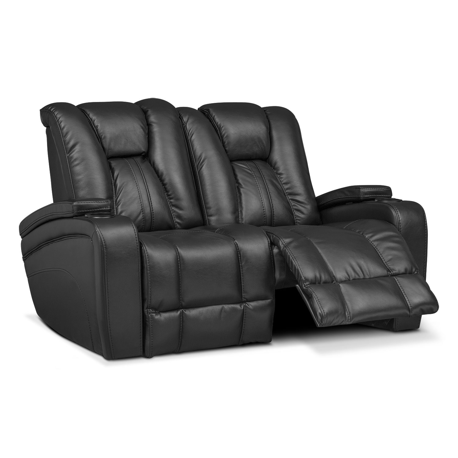 Pulsar Dual Power Reclining Loveseat Black Value City Furniture