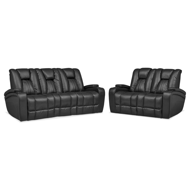 Pulsar Dual Power Reclining Sofa And Dual Power Reclining Loveseat Set Black Value City