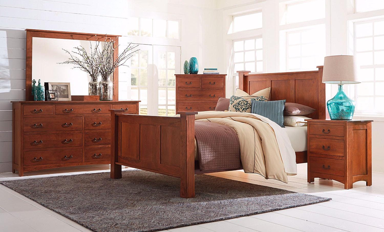 Amish Treasure 4-Piece King Bedroom Set - Warm Cherry