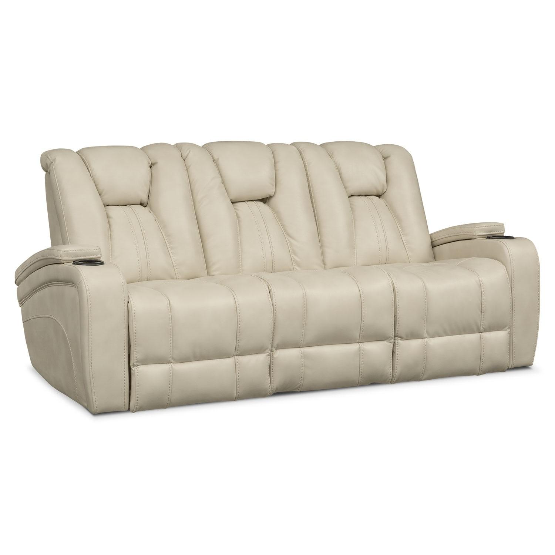 Pulsar Dual Power Reclining Sofa And Dual Power Reclining Loveseat Set Cream American