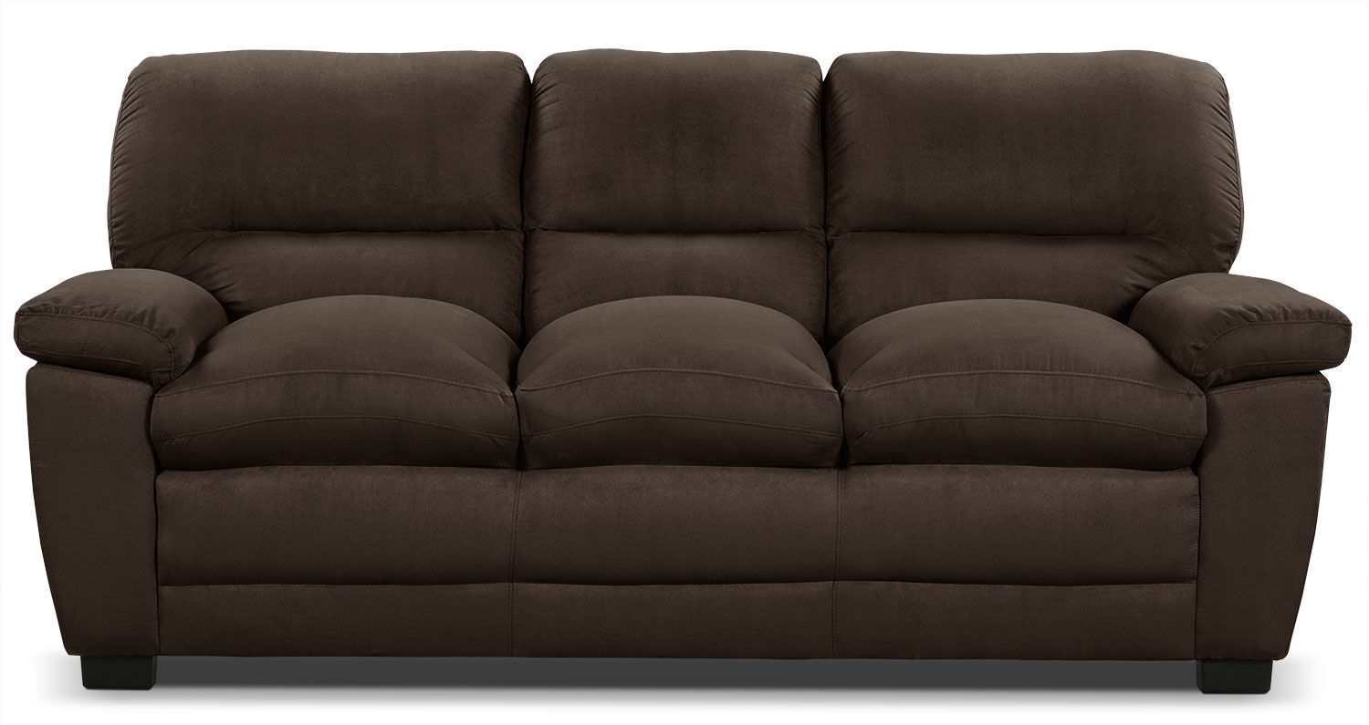 Peyton microsuede sofa chocolate the brick for Microsuede living room furniture