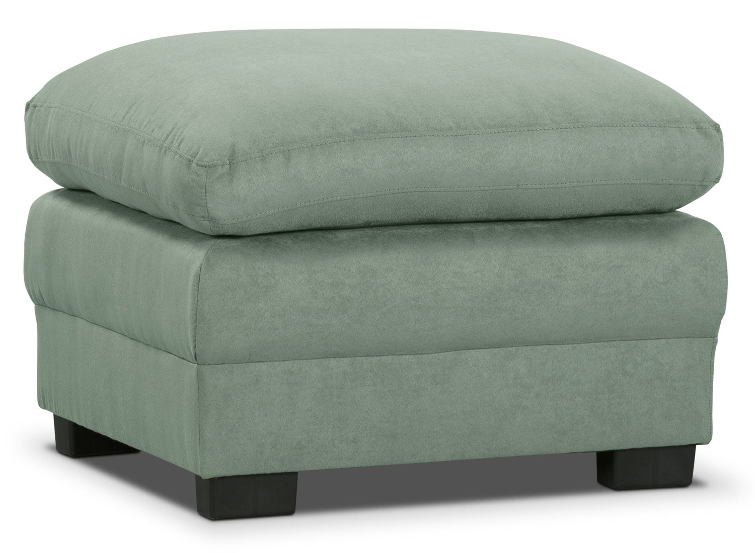 Living Room Furniture - Peyton Microsuede Ottoman - Blue Mist