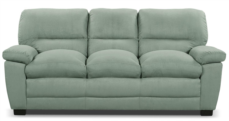 Peyton Microsuede Sofa Blue Mist The Brick