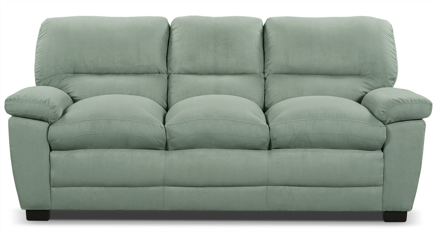 Living Room Furniture - Peyton Microsuede Sofa - Blue Mist