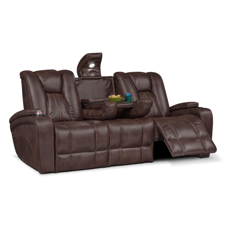 Pulsar Dual Power Reclining Sofa Brown American Signature Furniture