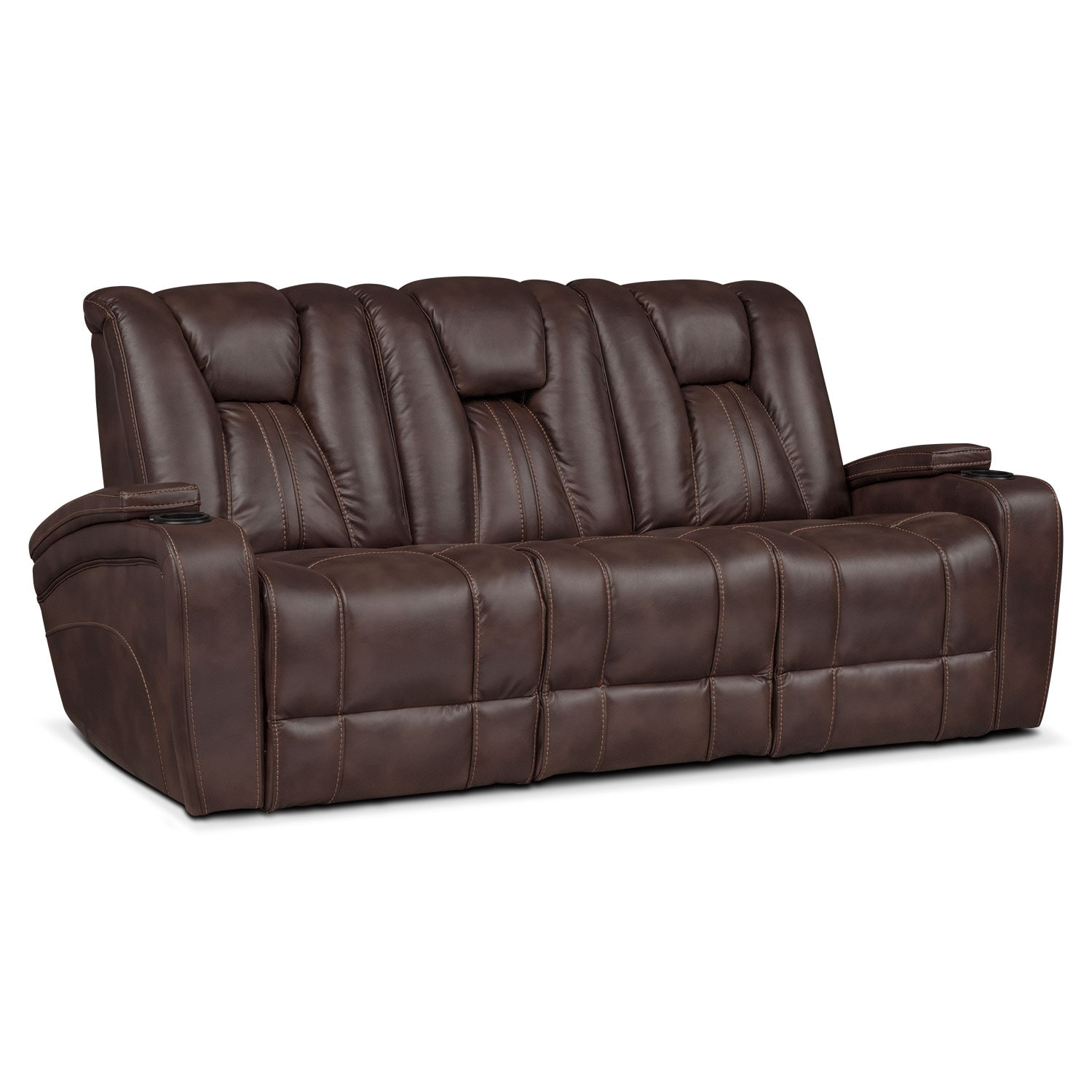 Pulsar dual power reclining sofa brown value city furniture Reclining loveseat sale