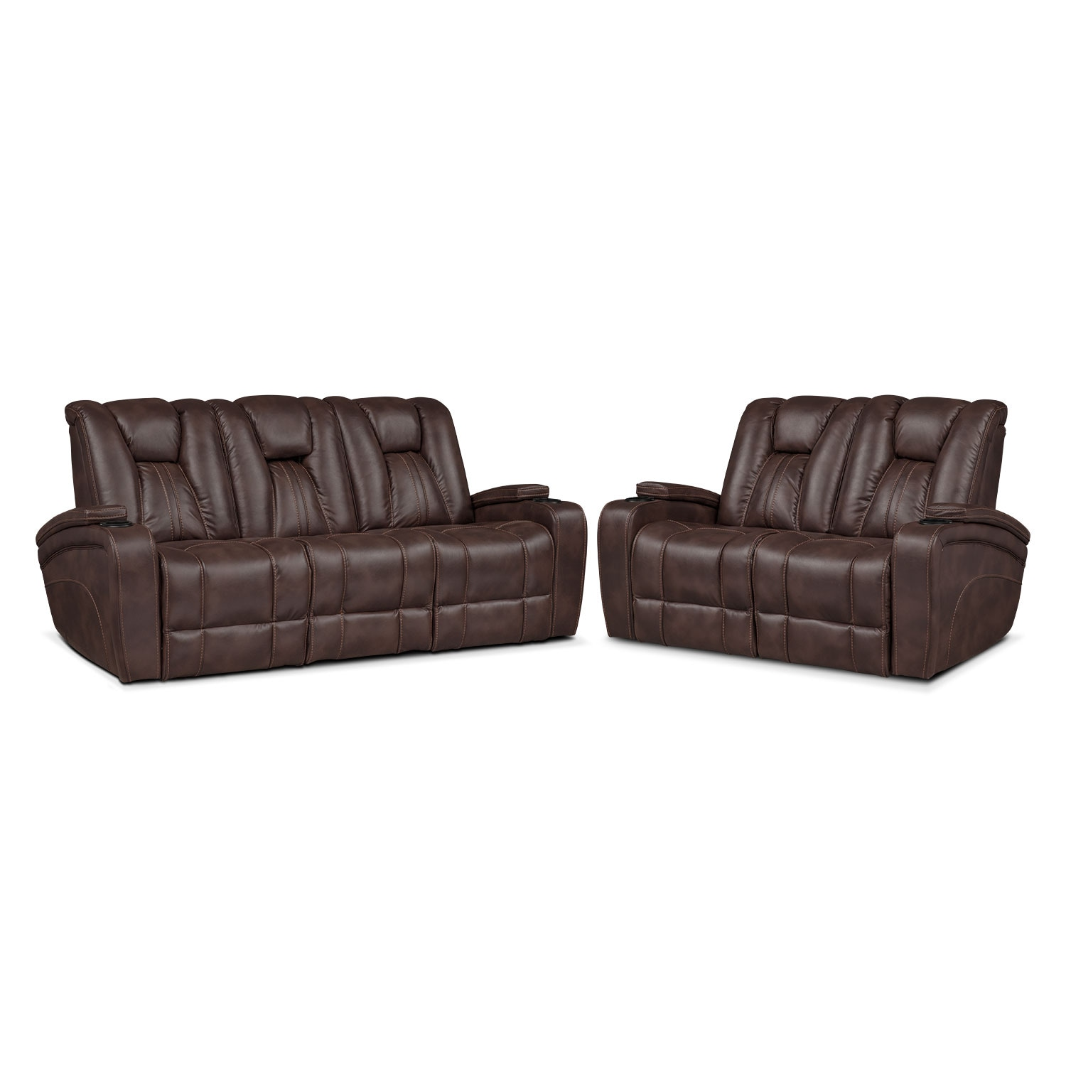 Pulsar Dual Power Reclining Sofa And Dual Power Reclining Loveseat Set Brown Value City