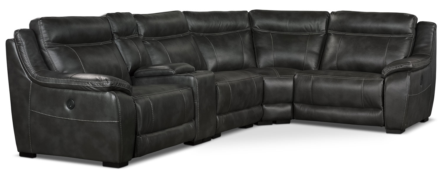 Living Room Furniture - Novo Leather-Look Fabric 5-Piece Power Reclining Sectional – Grey