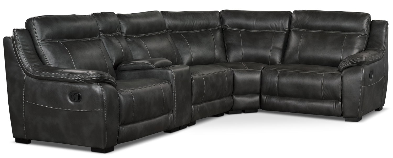 Living Room Furniture - Novo Leather-Look Fabric 5-Piece Reclining Sectional – Grey