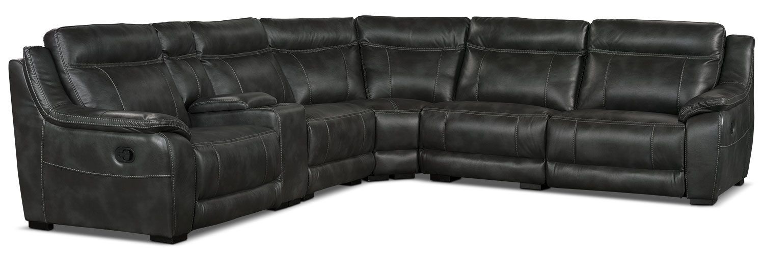 Living Room Furniture - Novo Leather-Look Fabric 6-Piece Reclining Sectional – Grey