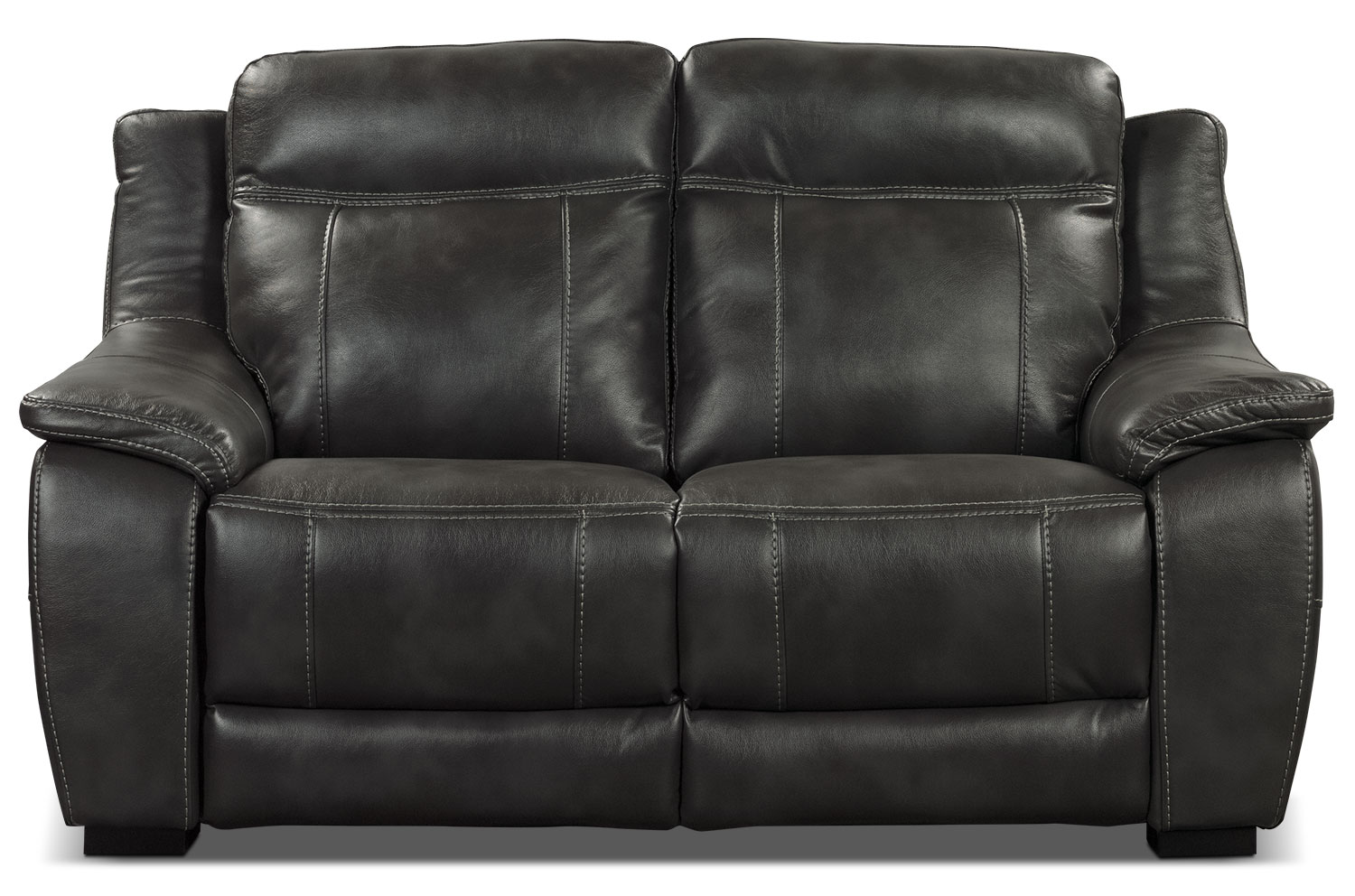 Living Room Furniture - Novo Leather-Look Fabric Loveseat – Grey