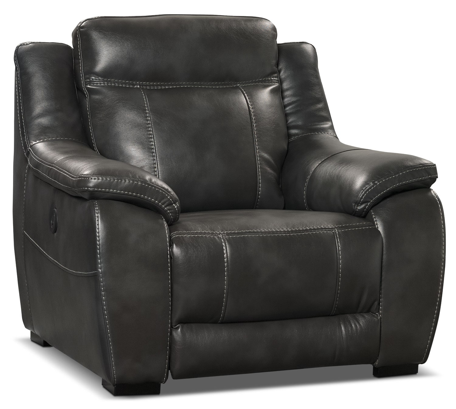 Novo Leather-Look Fabric Power Reclining Chair – Grey