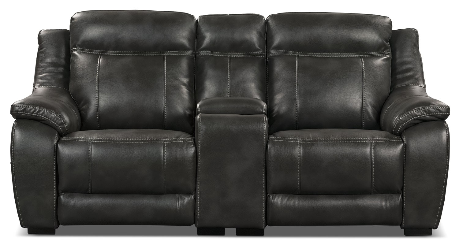 Living Room Furniture - Novo Leather-Look Fabric Power Reclining Loveseat – Grey