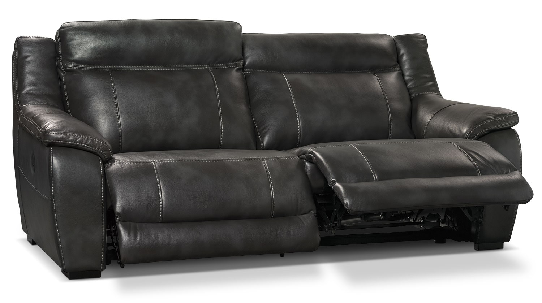 Novo Leather Look Fabric Power Reclining Sofa Grey The