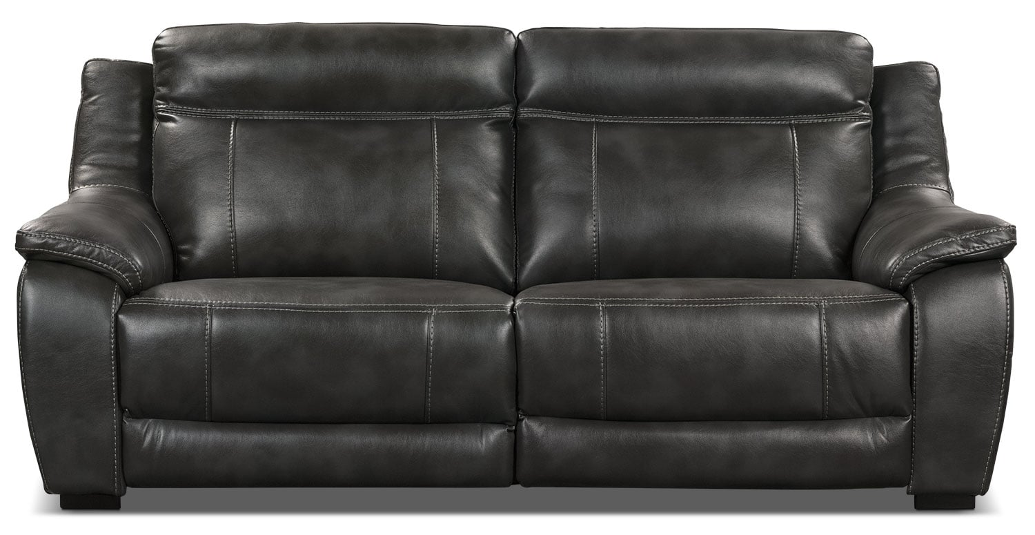 Living Room Furniture - Novo Leather-Look Fabric Power Reclining Sofa – Grey