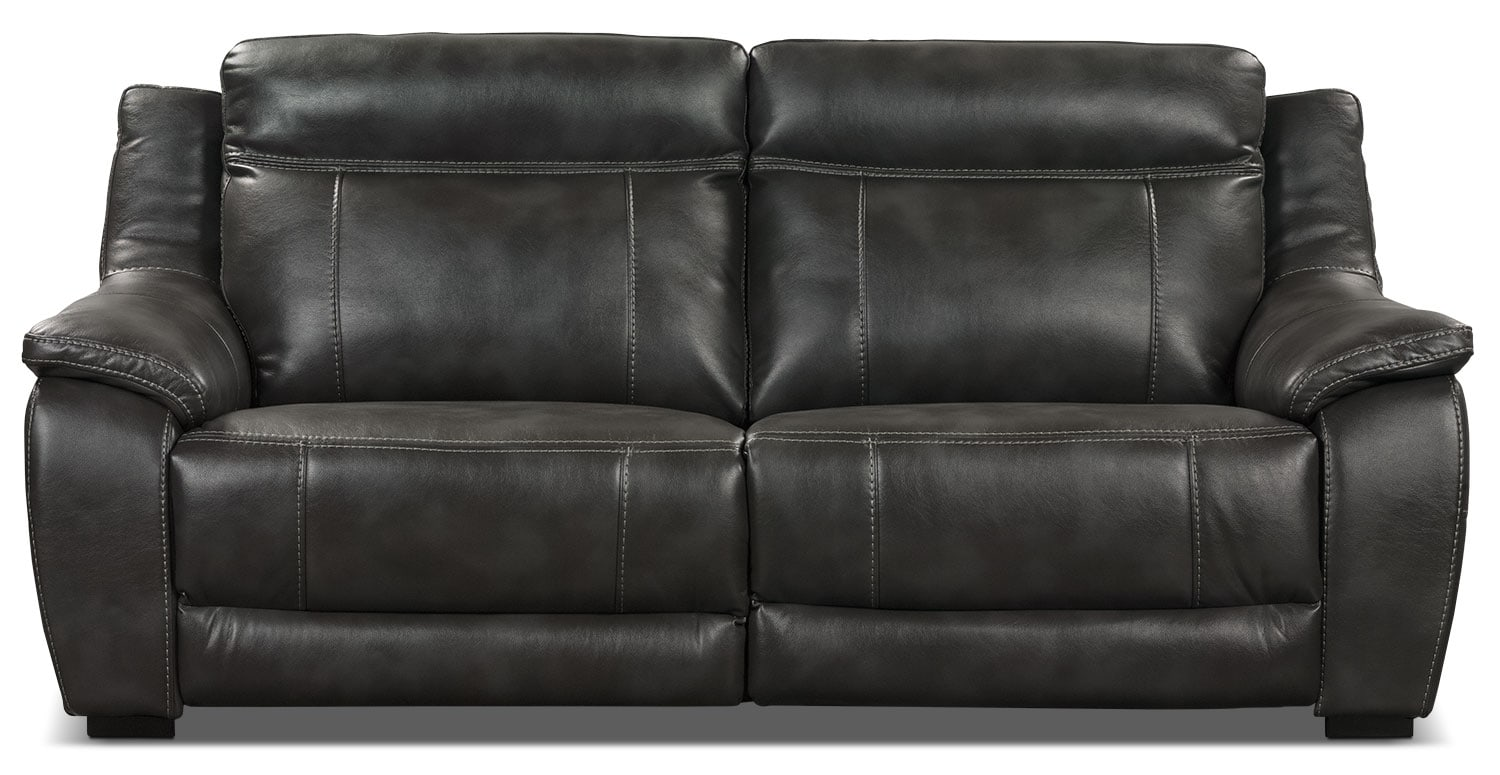 Novo Leather-Look Fabric Sofa – Grey
