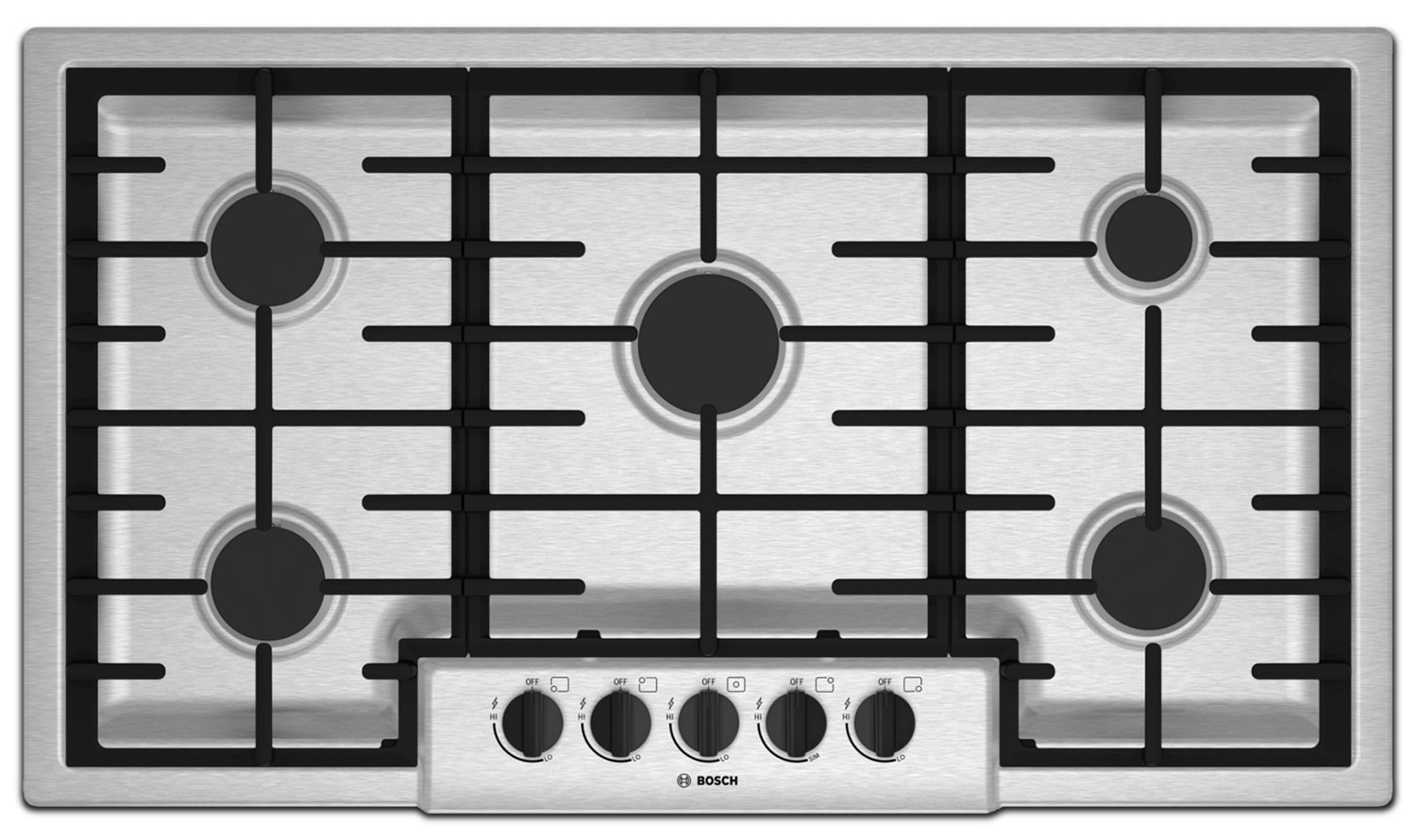 "Cooking Products - Bosch 500 Series 36"" 5-Burner Gas Cooktop – NGM5655UC"