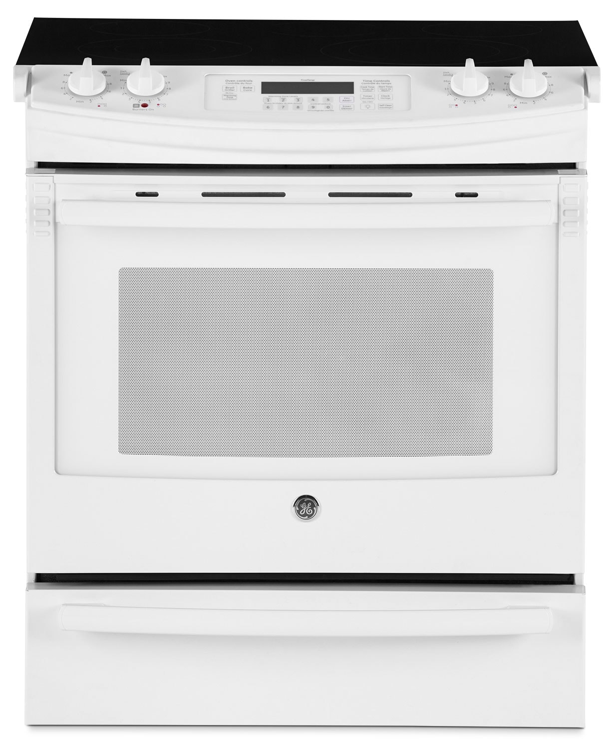 GE White Slide-In Electric Range (5.2 Cu. Ft.) - JCS630DFWW