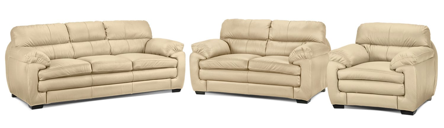 Cambria Sofa, Loveseat and Chair Set - Seashell