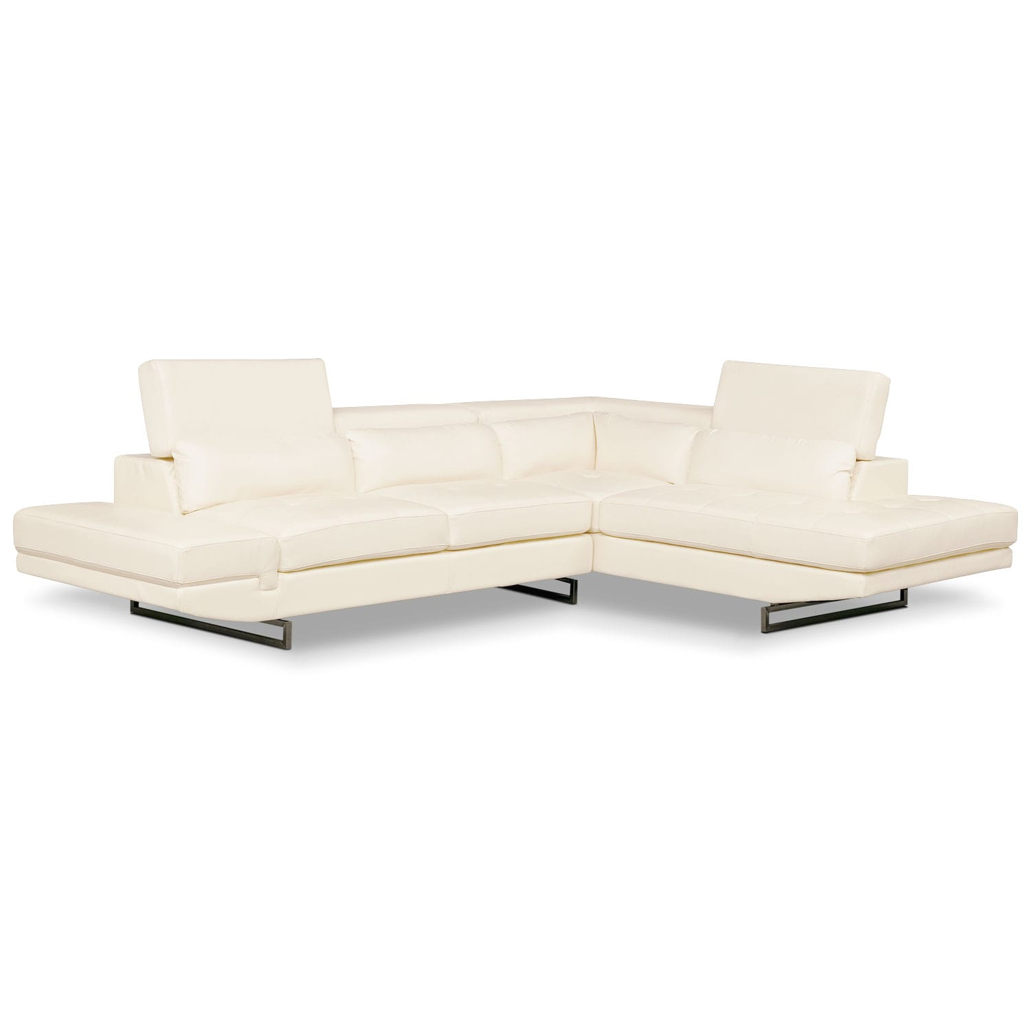 Torino 2 piece sectional with right facing chaise white for 2 piece sectional sofa with chaise