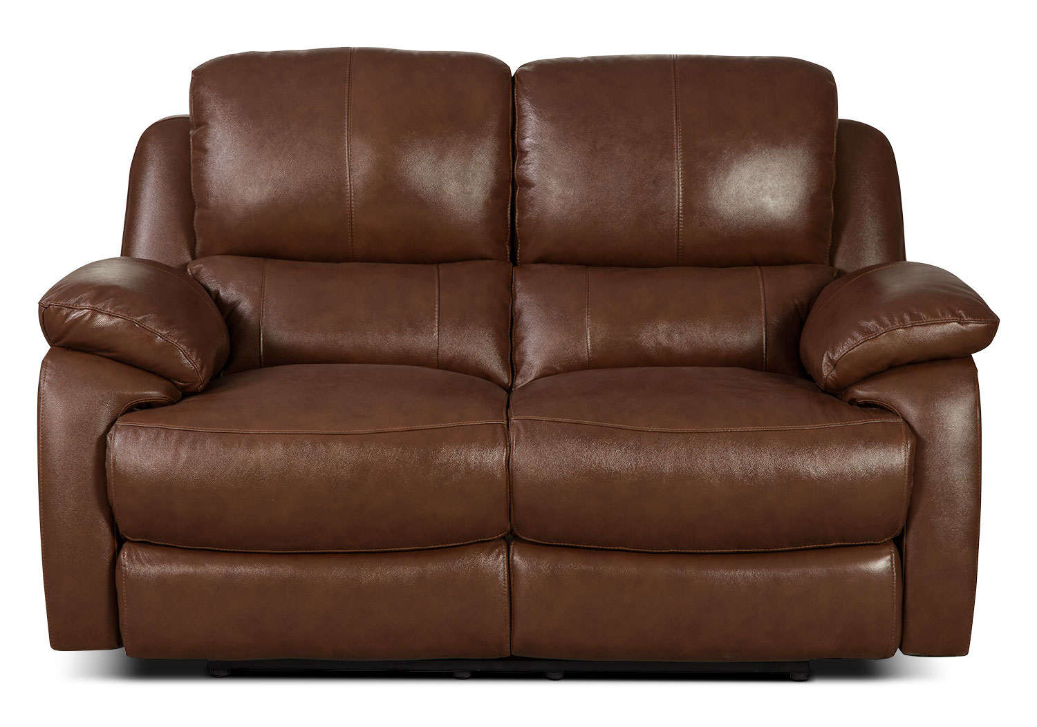 Living Room Furniture - Cairo Genuine Leather Reclining Loveseat – Brown