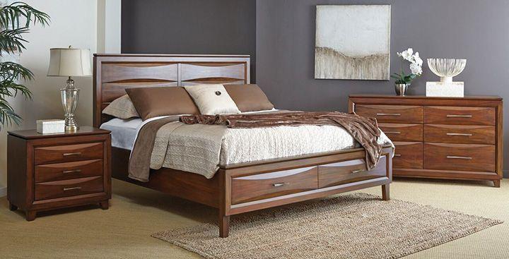 Stellan 4-Piece Queen Storage Bedroom Set - Brown Mahogany