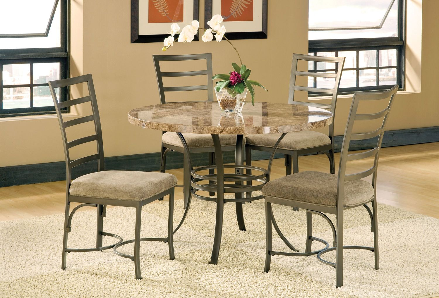 Capella table and 4 side chairs levin furniture for Dining room furniture 0 finance