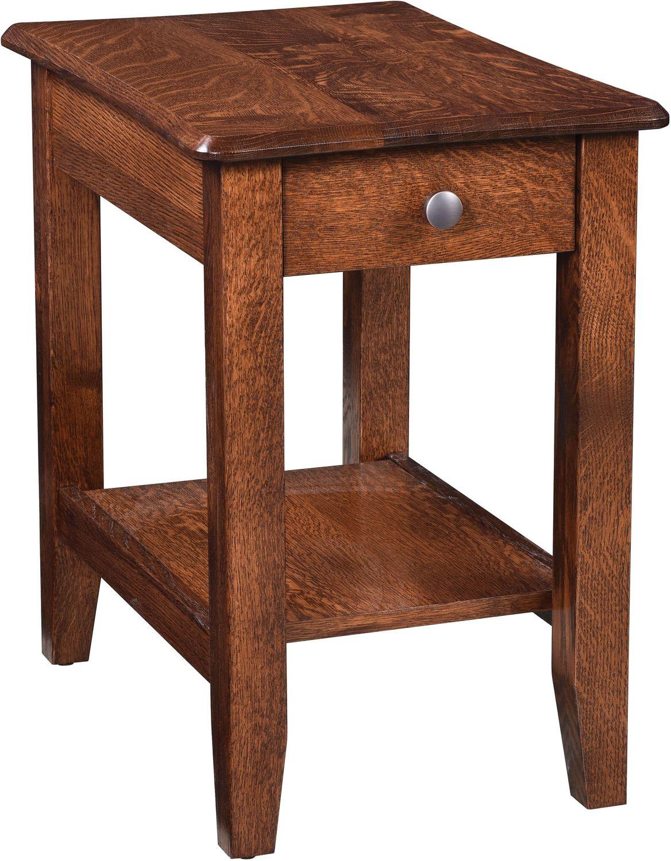 Bunker Hill Chairside Table Rustic Oak Levin Furniture