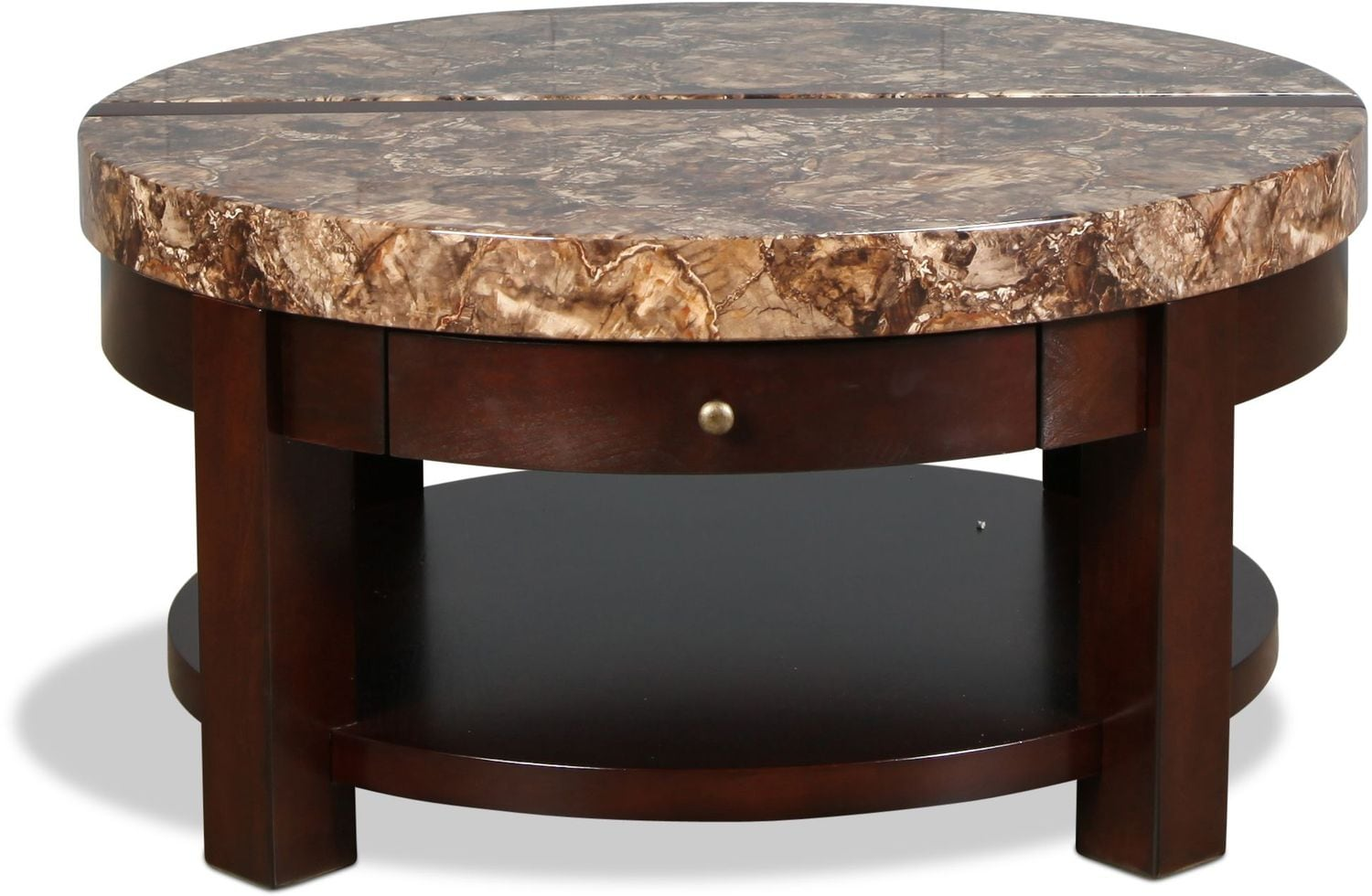 Cabo lift top coffee table brown cherry with faux marble for Stone topped coffee tables