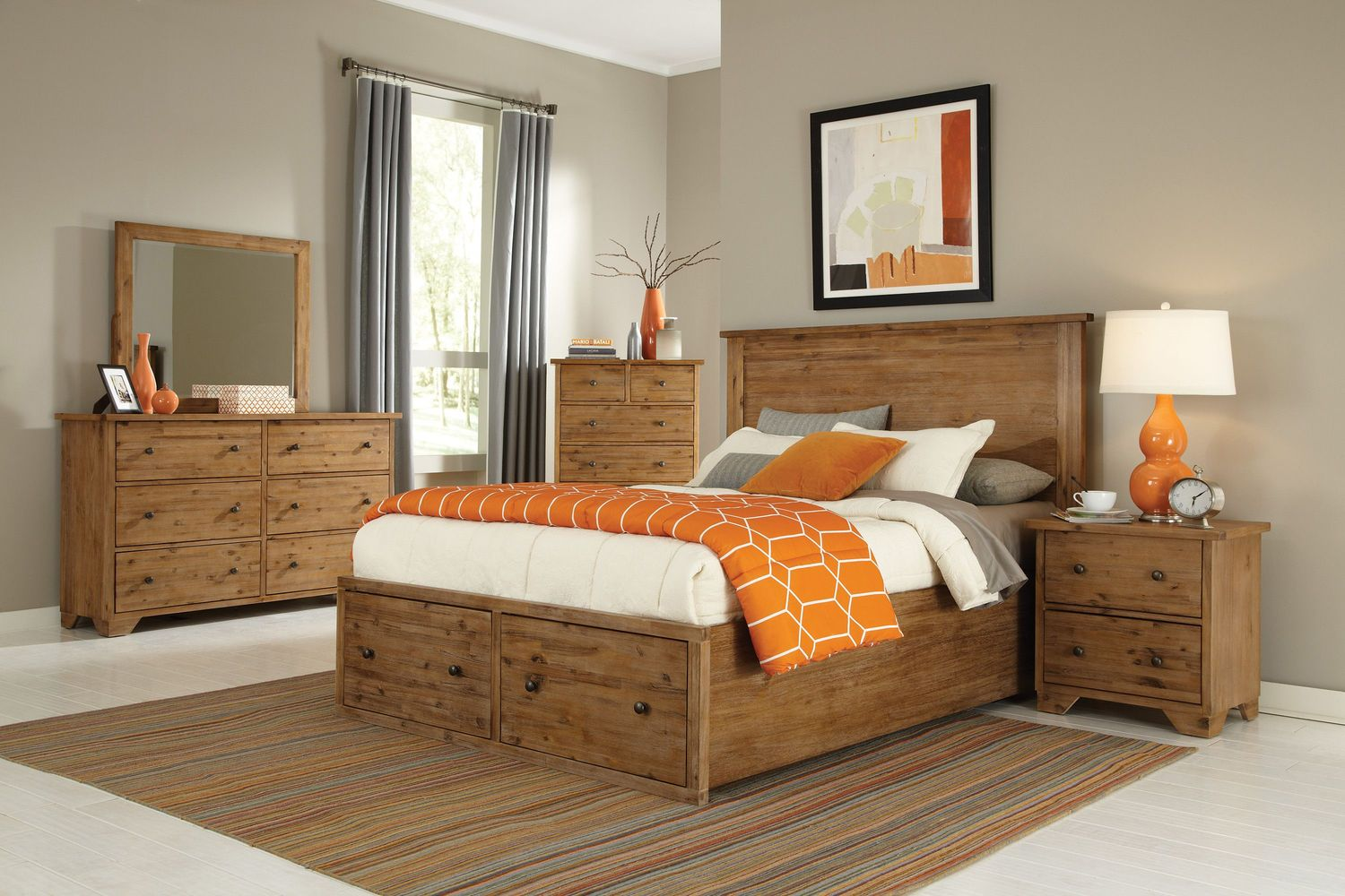 Bedroom Furniture - Annabella 4-Piece King Storage Bedroom Set - Brushed Acacia