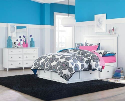 Ellsworth 4-Piece Full Bedroom Set with 4 Underbed Drawers - White