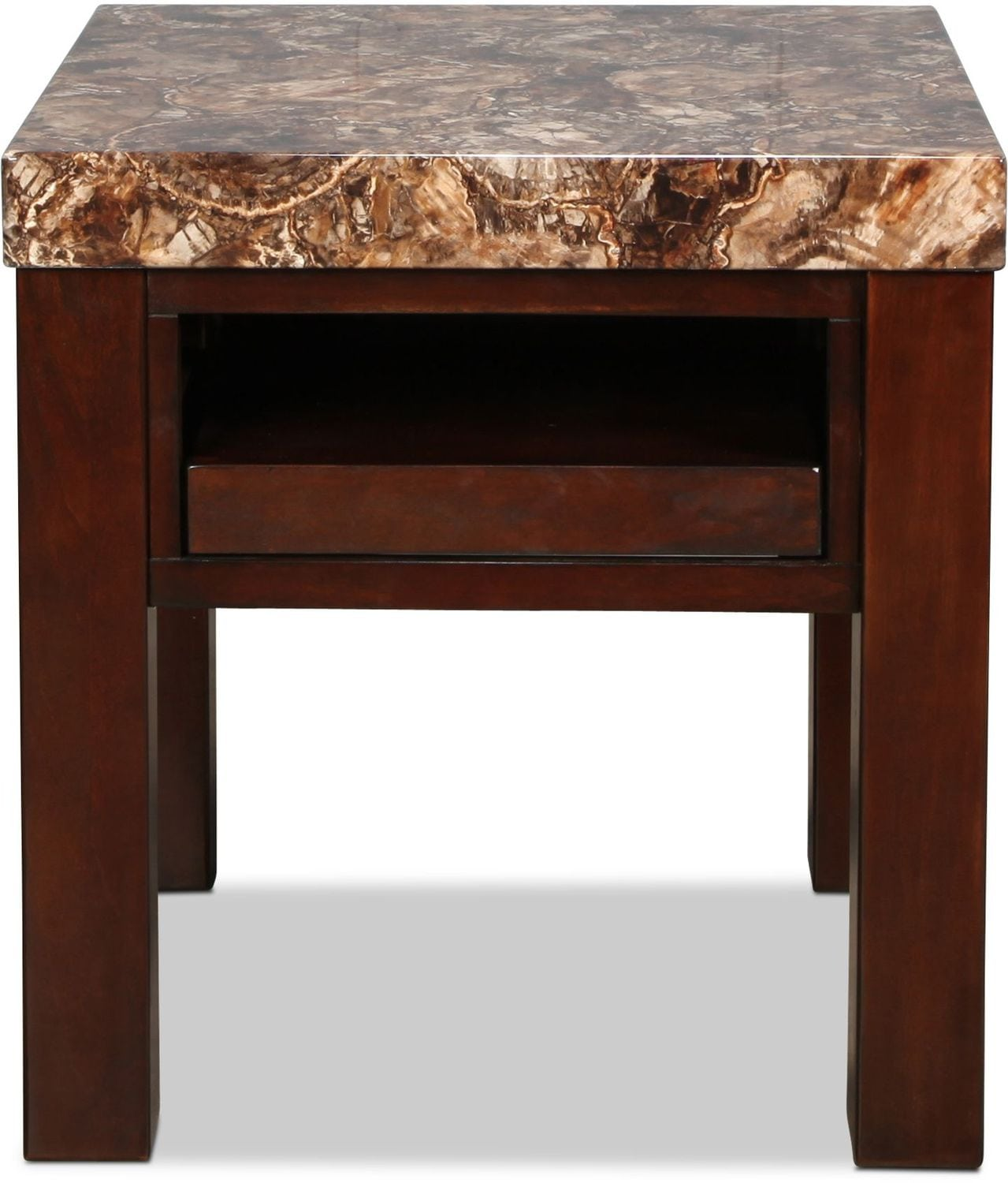 Accent and Occasional Furniture - Cabo End Table - Brown Cherry with Faux Marble