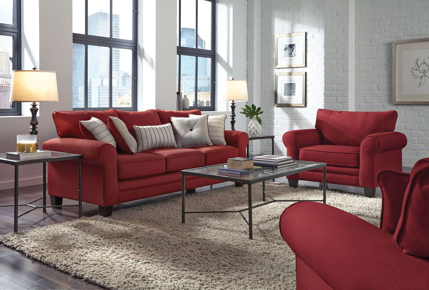 Living room furniture aspire sofa red