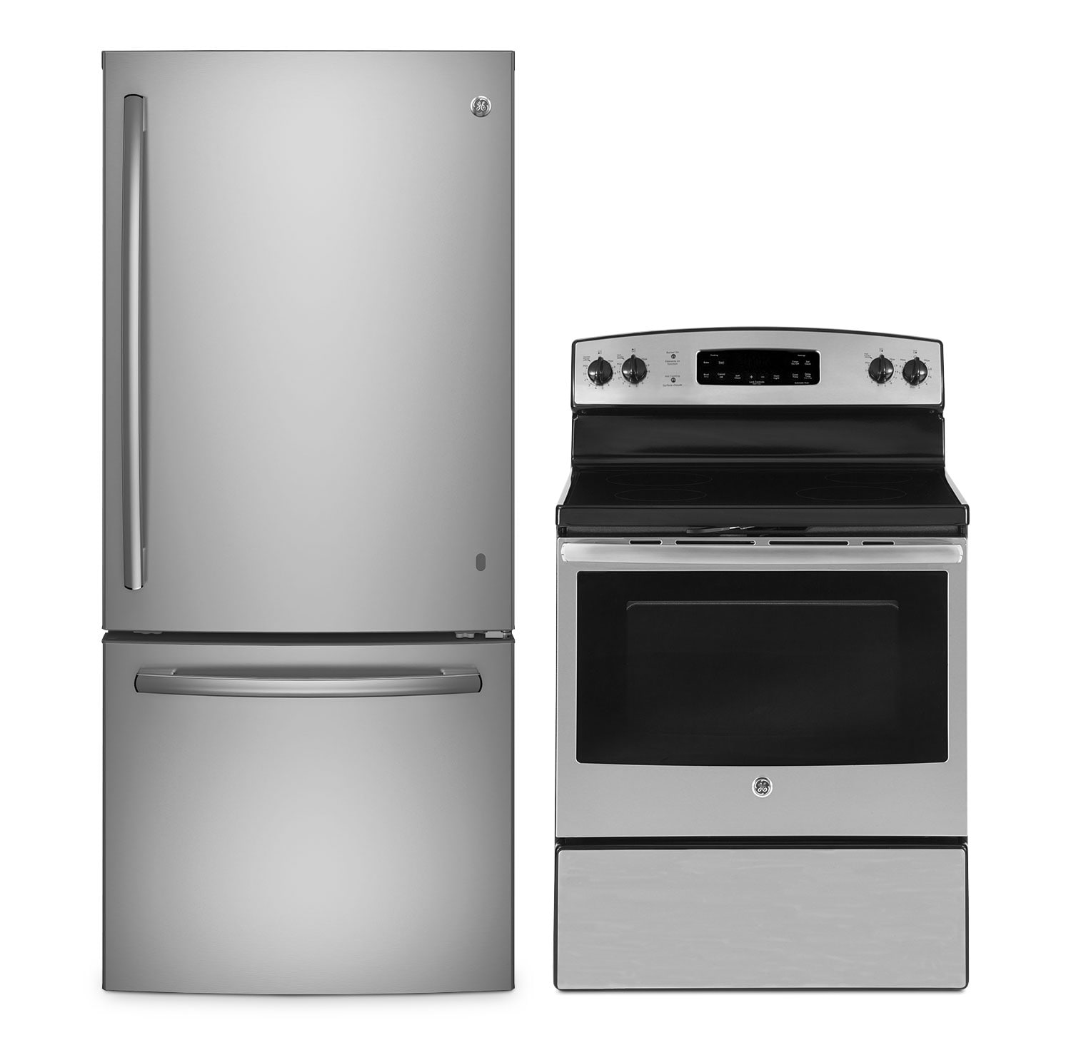 Cooking Products - GE 21 Cu. Ft. Bottom-Mount Refrigerator and 5.0 Cu. Ft. Electric Range – Stainless Steel