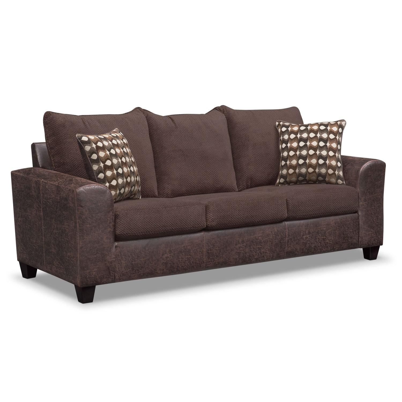 Brando Queen Memory Foam Sleeper Sofa Loveseat And Swivel Chair Set Chocolate American
