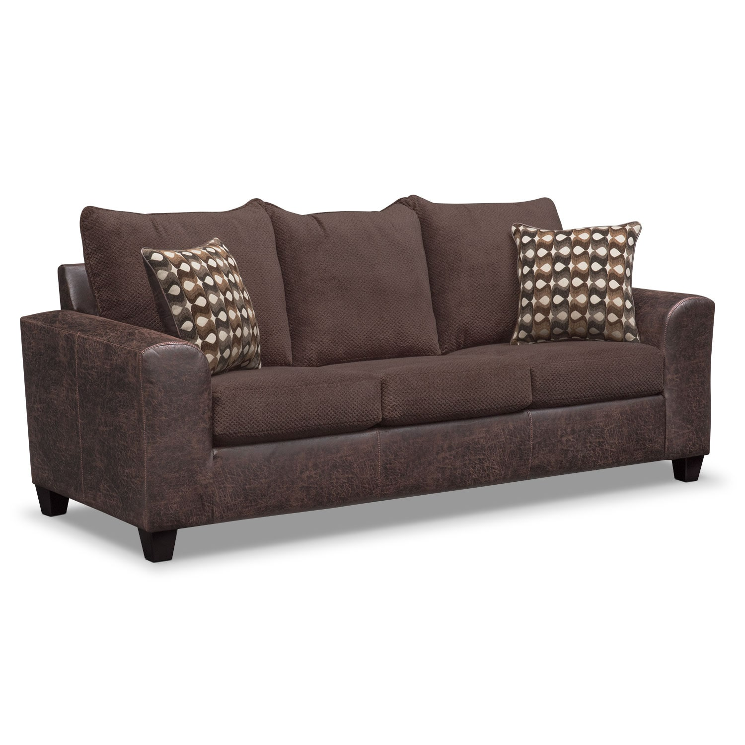 Brando queen memory foam sleeper sofa and loveseat set for Sectional sofa with recliner and queen sleeper