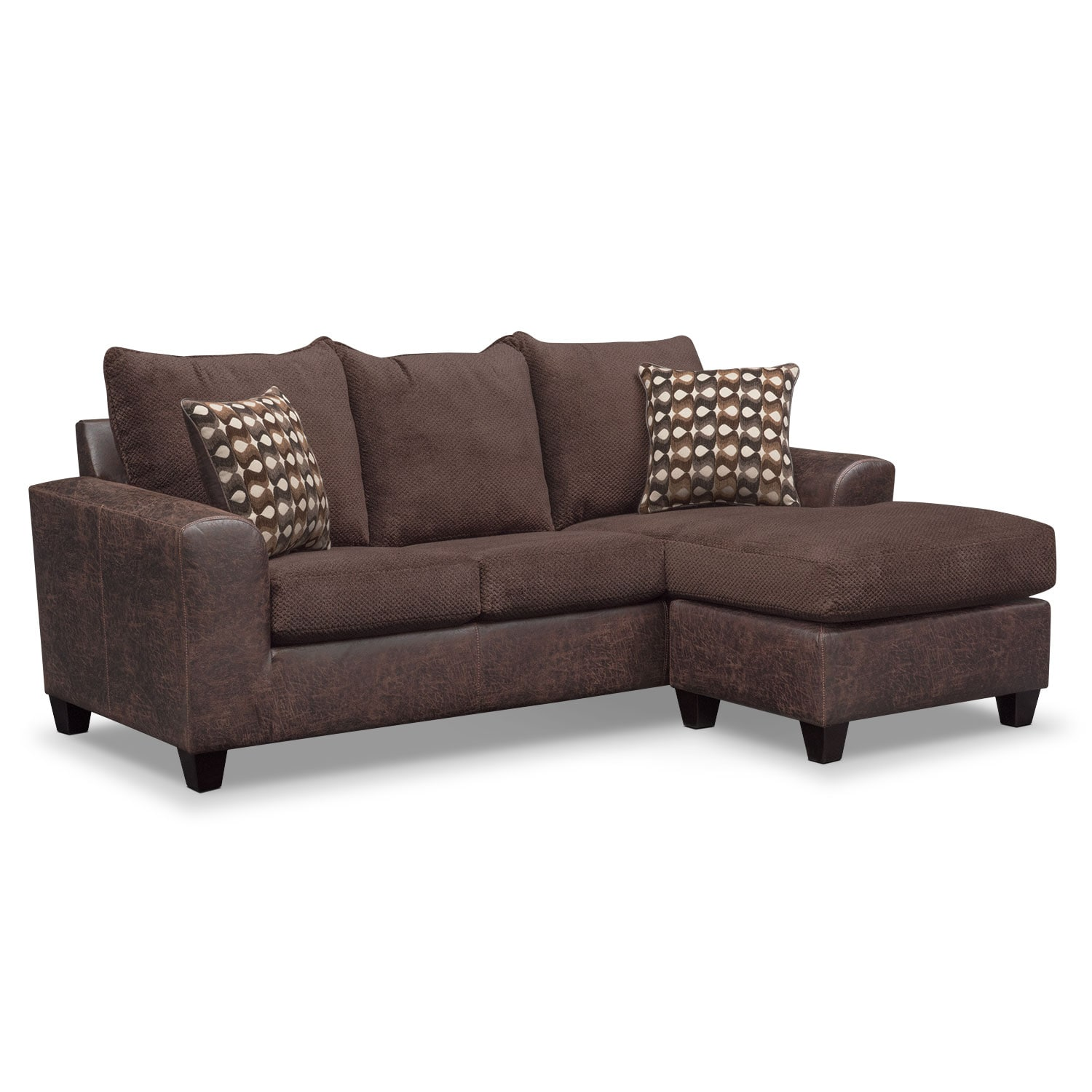 brando sofa with chaise chocolate value city furniture. Black Bedroom Furniture Sets. Home Design Ideas