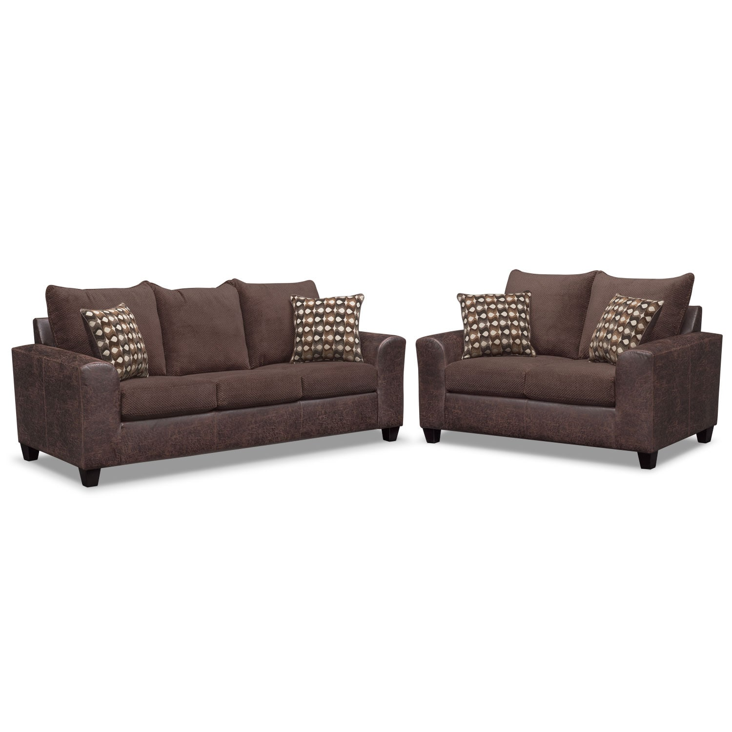 Brando Queen Memory Foam Sleeper Sofa And Loveseat Set Chocolate Value City Furniture