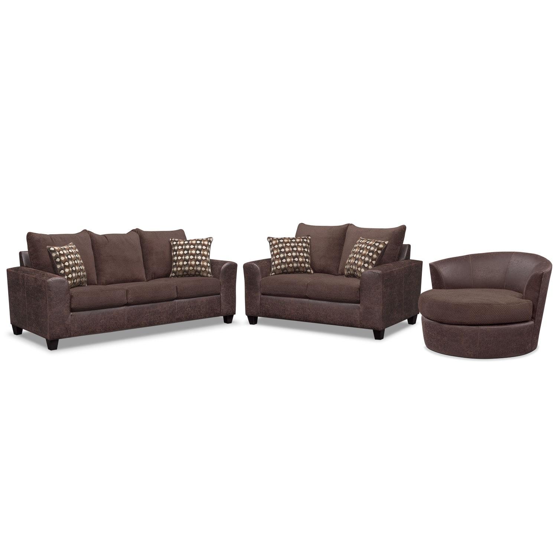 Brando Sofa Loveseat And Swivel Chair Set Chocolate American Signature Furniture