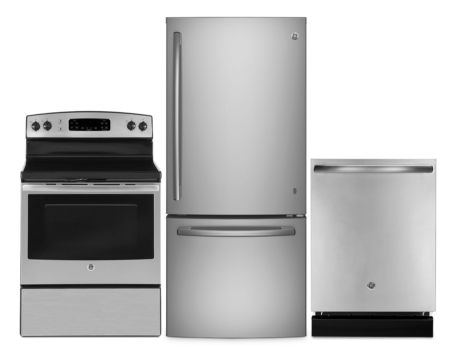 GE 21 Cu. Ft. Bottom-Mount Refrigerator, 5.0 Cu. Ft. Electric Range and Dishwasher – Stainless Steel
