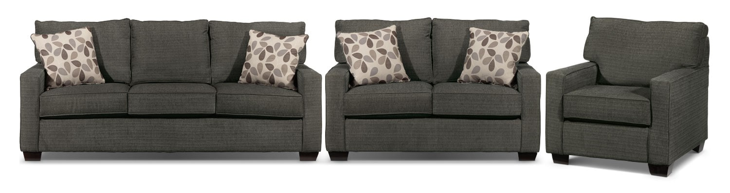 Perkin Sofa, Loveseat and Chair Set - Graphite