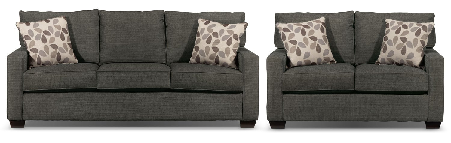 Perkin Sofa and Loveseat Set - Graphite