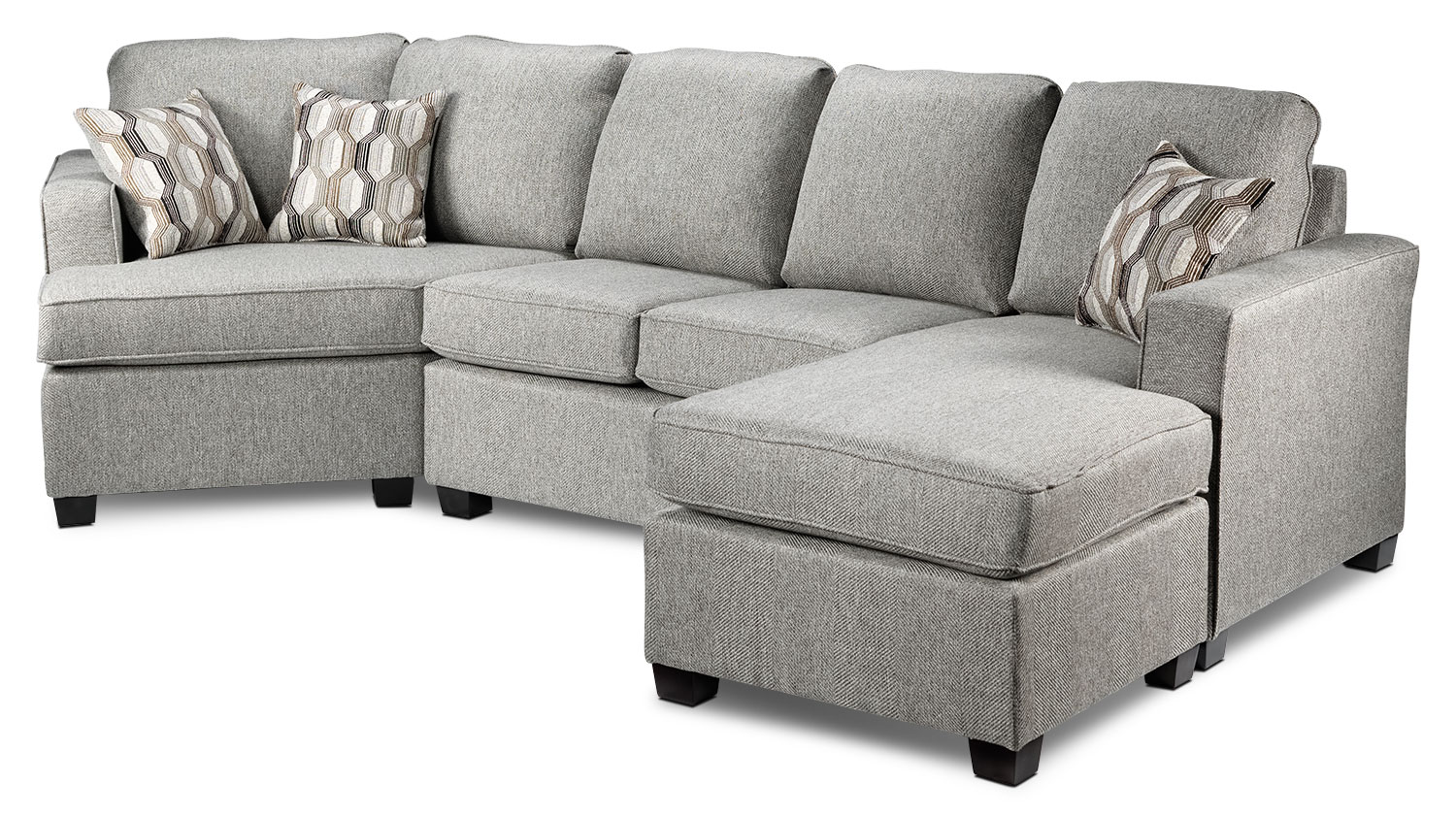 Living Room Furniture - Downtown 2-Piece Right-Facing Sectional - Grey