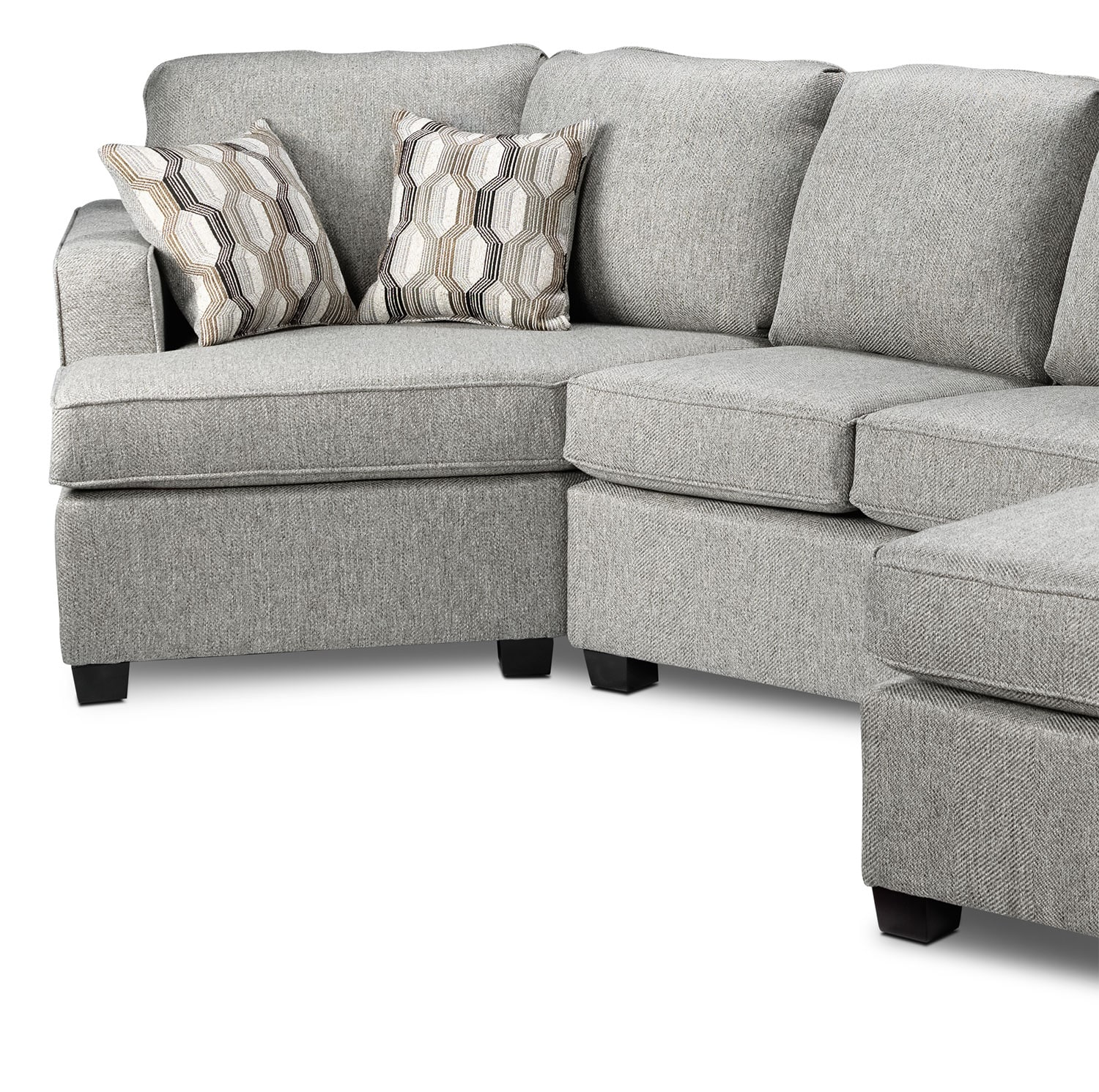 Downtown 2 Piece Right Facing Sectional Grey