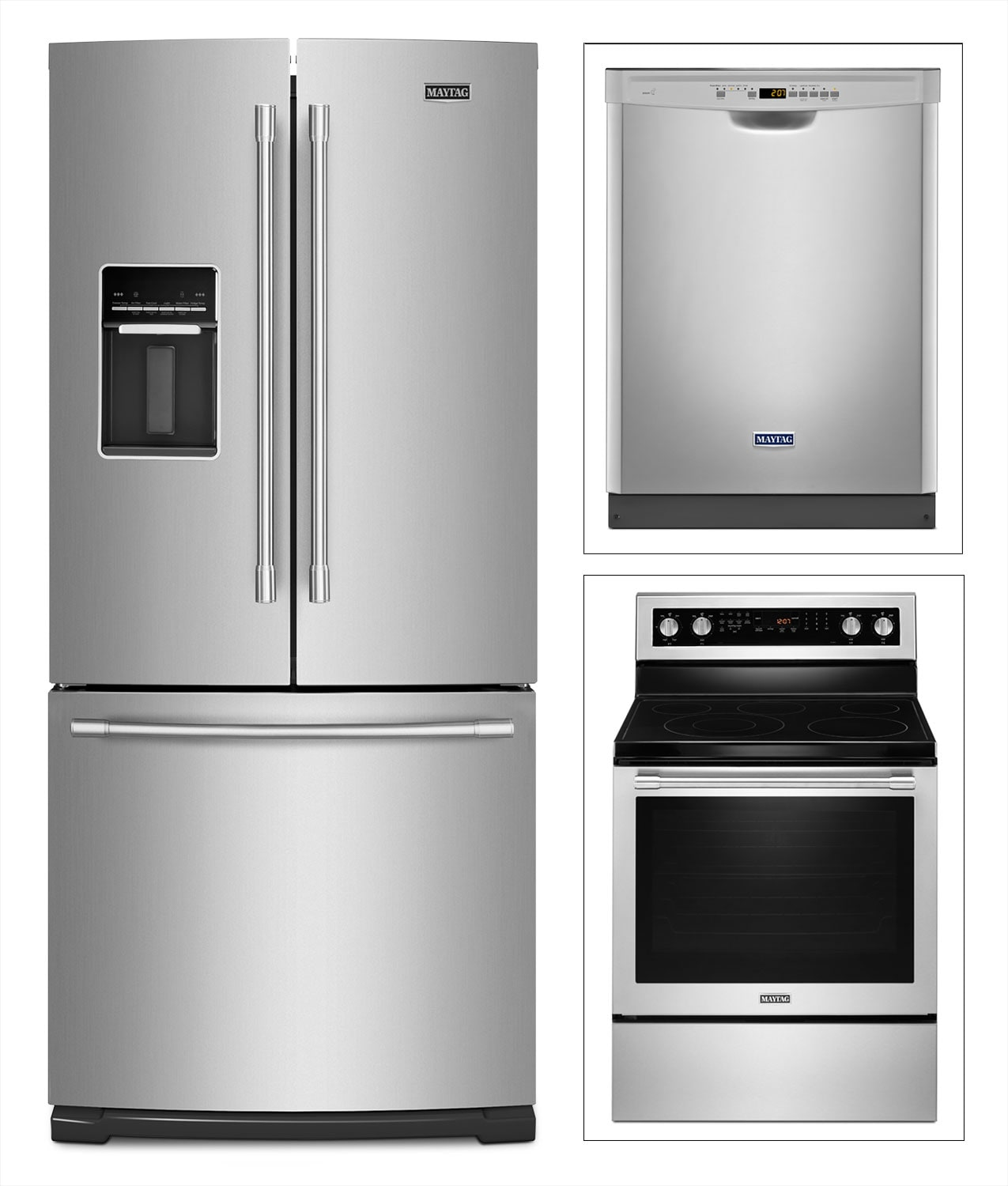 Maytag Stainless Steel French-Door Refrigerator, Electric Range and Dishwasher Package